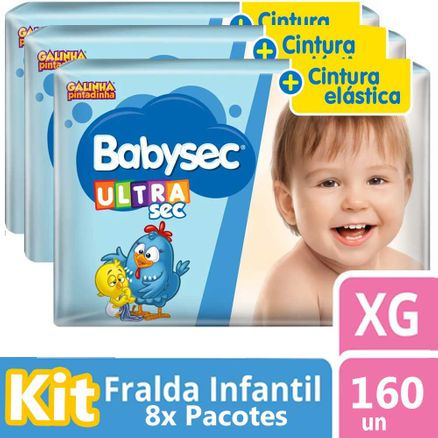 Kit Fralda Babysec Galinha Pintadinha Ultra Jumbo XG 200 Unidades