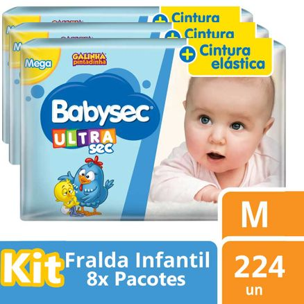 Kit Fralda Babysec Galinha Pintadinha Ultrasec Jumbo M 224 Unidades