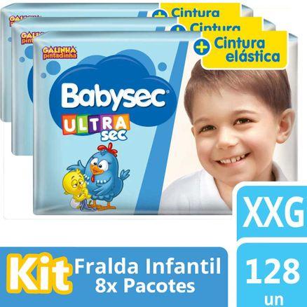 Kit Fralda Babysec Galinha Pintadinha Ultrasec Jumbo XXG 128 Unidades