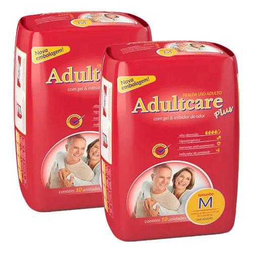 Kit 2 Fralda Geriátrica Adultcare M 10 Unidades
