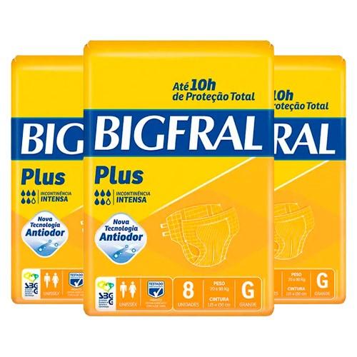Kit Fralda Geriátrica Bigfral Plus Grande 24 Unidades
