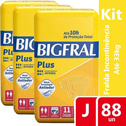 Kit Fralda Geriátrica Bigfral Plus Juvenil 88 Unidades