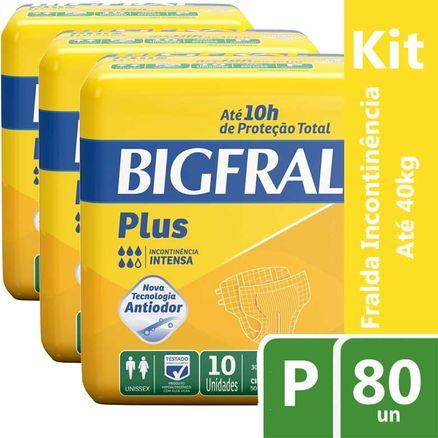 Kit Fralda Geriátrica Bigfral Plus P 80 Unidades