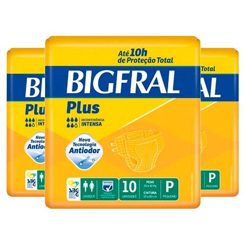 Kit Fralda Geriátrica Bigfral Plus Pequena 30 Unidades