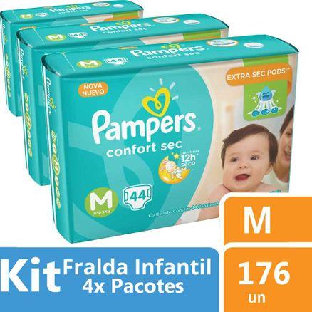 Kit Fralda Pampers Confort Sec M 176 Unidades