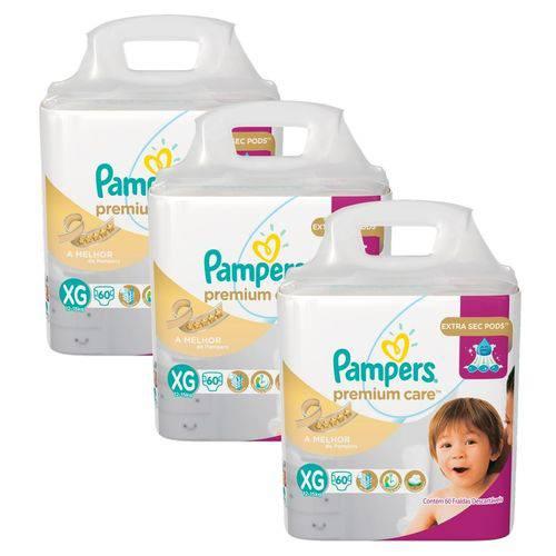 KIt Fralda Pampers Premium Care Tamanho XG com 180 Unidades
