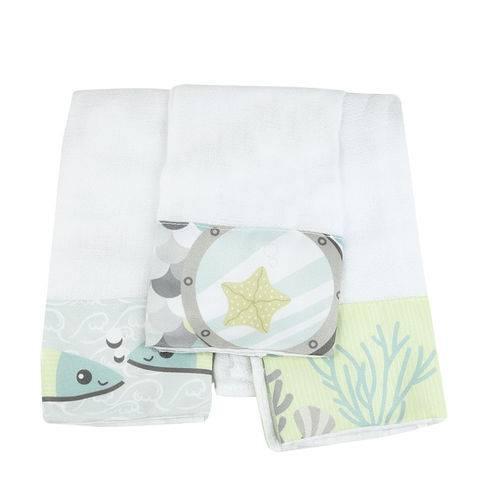 Kit 3 Fraldas de Boca Peixe - Coração de Mãe
