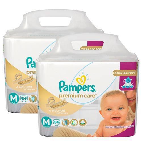 Kit 2 Fraldas Pampers Premium Care Tamanho M com 168 Unidades
