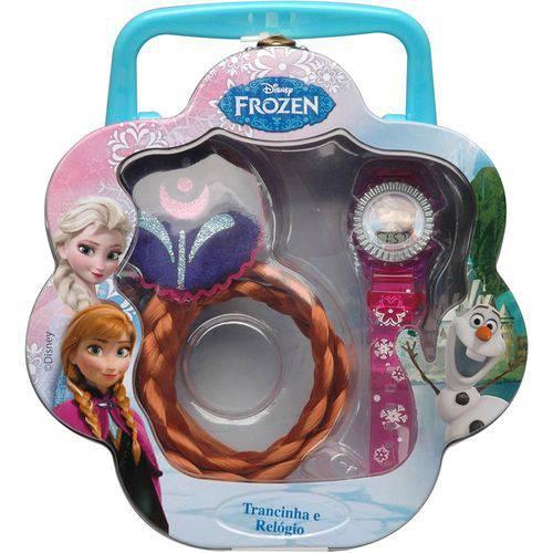 Kit Frozen com Trancinha Relogio Disney Anna Candide