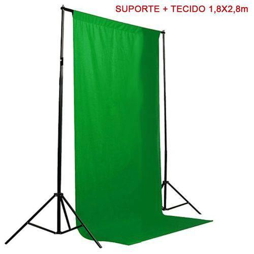 Kit Fundo Infinito Movel 2,50m com Fundo Muslin Verde 1,8x2,8m