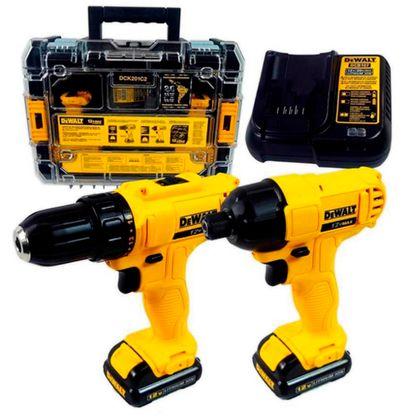 Kit Furadeira Parafusadeira e Parafusadeira de Impacto à Bateria Dewalt DCK201C2 DCK201C2-B2 - 220V