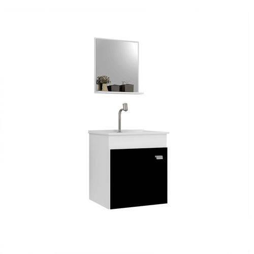 Kit Gabinete Suspenso P/ Banheiro Gaam Pop 400 Branco/Preto Cuba e Espelho
