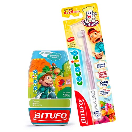 Kit Gel Dental Bitufo Cocoricó Sem Flúor 100g + Escova Dental Bitufo Cocoricó 1º Dentinho 1 Unidade