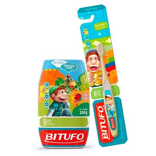 Kit Gel Dental Bitufo Cocoricó Sem Flúor 100g + Escova Dental Cocoricó 2 a 5 Anos