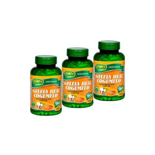 T com 3 Cogumelo Agaricus Blazei e Geleia Real Liofilizada - Unilife - 90 Cápsulas