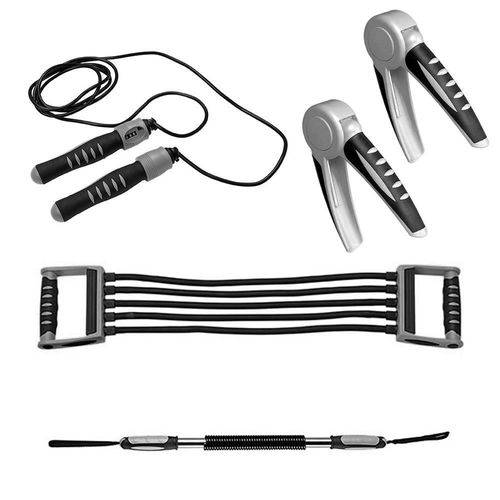 Kit Ginástica Exercícios 5pçs Fitness Extensor Barra Corda Hand Grips - Mr8 40200019
