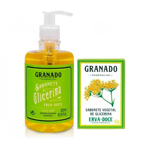 Kit Granado Glicerina Erva Doce Sabonete Líquido 300ml + Sabonete em Barra 90g