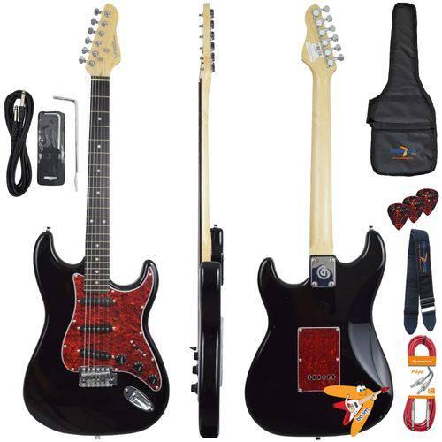 Kit Guitarra Elétrica Strato G100 Bk/tt Preta Giannini