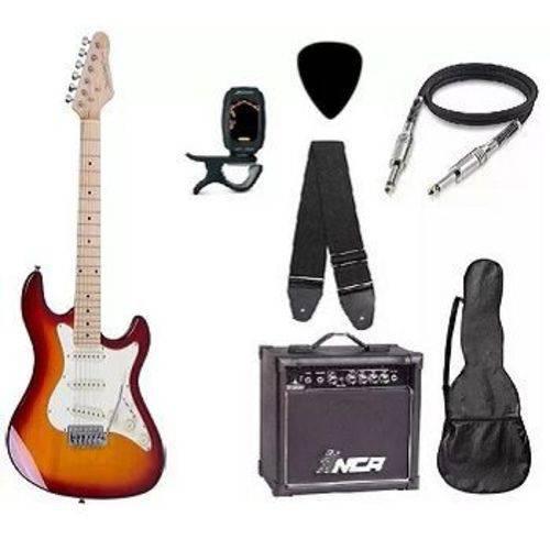 Kit Guitarra Strato Strinberg STS-100 com Acessórios + Amplificador Cherry