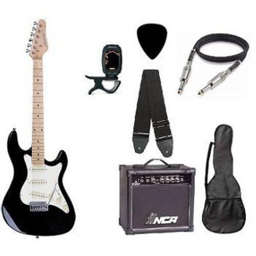 Kit Guitarra Strato Strinberg STS-100 com Acessórios + Amplificador PRETA