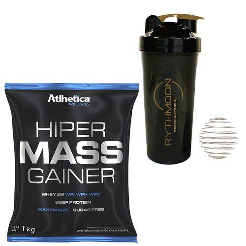 Kit HIPER MASS GAINER 1KG Chocolate + Coqueteleira 600ml com Mola