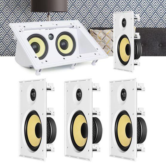 Kit Home Theater 5.0 JBL Caixa de Embutir CI8R + Canal Central CI55RA Residencial Gesso