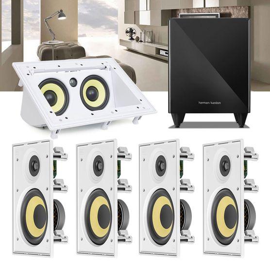 Kit Home Theater 5.1 JBL Caixa de Embutir CI6R + Canal Central CI55RA + Sub 210 Residencial Gesso