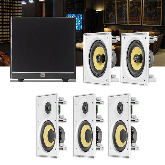 Kit Home Theater 5.1 JBL Caixa de Embutir CI6R + CI6S + Sub 100 Residencial Gesso