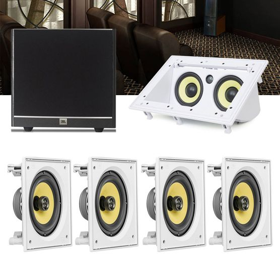 Kit Home Theater 5.1 JBL Caixa de Embutir CI6S + Canal Central CI55RA + Sub 100 Residencial Gesso