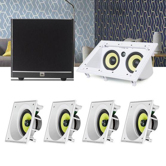 Kit Home Theater 5.1 JBL Caixa de Embutir CI6SA + Canal Central CI55RA + Sub 100 Residencial Gesso