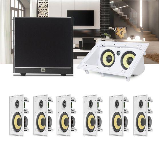 Kit Home Theater 5.1 JBL Caixa de Embutir CI8R + Canal Central CI55RA + Sub 100 Residencial Gesso