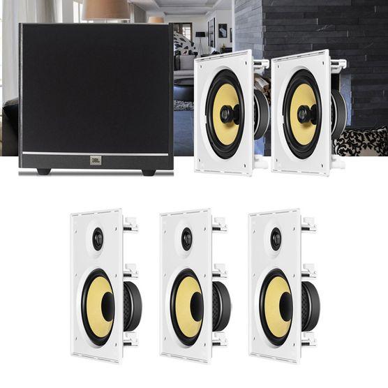 Kit Home Theater 5.1 JBL Caixa de Embutir CI8R + CI8S + Sub 100 Residencial Gesso