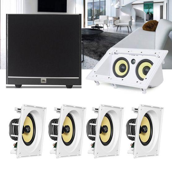 Kit Home Theater 5.1 JBL Caixa de Embutir CI8SA + Canal Central CI55RA + Sub 100 Residencial Gesso