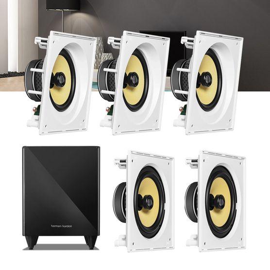 Kit Home Theater 5.1 JBL Caixa de Embutir CI8SA + CI8S + Sub 210 Residencial Gesso