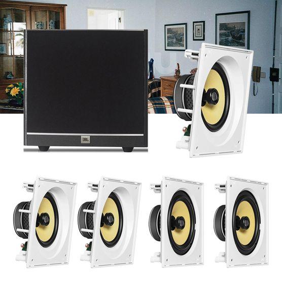 Kit Home Theater 5.1 JBL Caixa de Embutir CI8SA + CI8S + Sub 100 Residencial Gesso