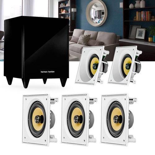 Kit Home Theater 5.1 Jbl Caixa de Embutir Residencial Gesso 3 Ci6s + 2 Ci6sa + 1 Sub 210