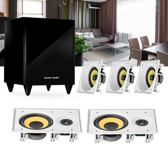 Kit Home Theater 5.1 Jbl Caixa de Embutir Residencial Gesso 3 Ci6sa + 2 Ci6r + 1 Sub 210