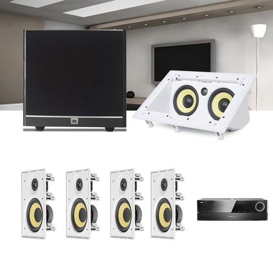 Kit Home Theater 5.1 JBL Receiver AVR 1010 + Caixa Embutir CI8R + Canal Central CI55RA + Sub 100