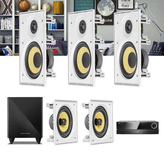 Kit Home Theater 5.1 JBL Receiver AVR 1010 + Caixa Embutir Teto CI6R + CI6S + Sub 210
