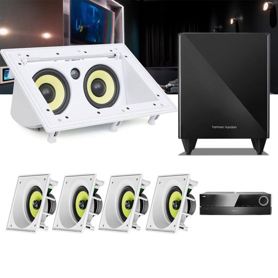 Kit Home Theater 5.1 JBL Receiver AVR 1010 + Caixa Embutir Teto CI6SA + Central CI55RA + Sub 210