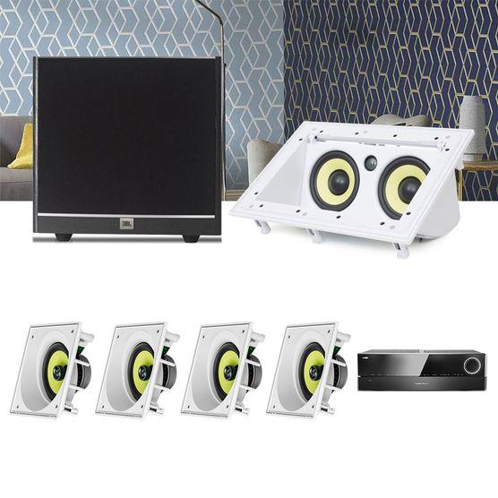 Kit Home Theater 5.1 JBL Receiver AVR 1010 + Caixa Embutir Teto CI6SA + Central CI55RA + Sub 100