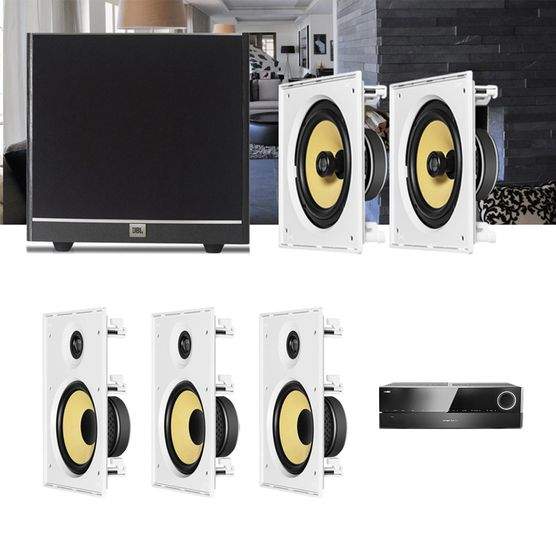 Kit Home Theater 5.1 JBL Receiver AVR 1010 + Caixa Embutir Teto CI8R + CI8S + Sub 100 Residencial