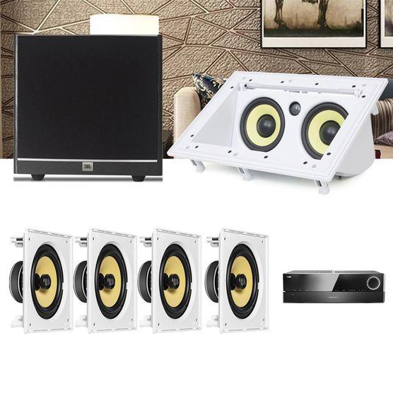 Kit Home Theater 5.1 JBL Receiver AVR 1010 + Caixa Embutir Teto CI8S + Central CI55RA + Sub 100