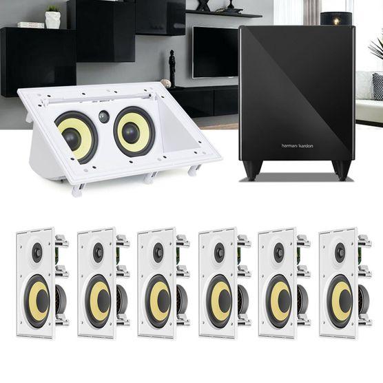 Kit Home Theater 7.1 JBL Caixa de Embutir CI6R + Canal Central CI55RA + Sub 210 Residencial Gesso