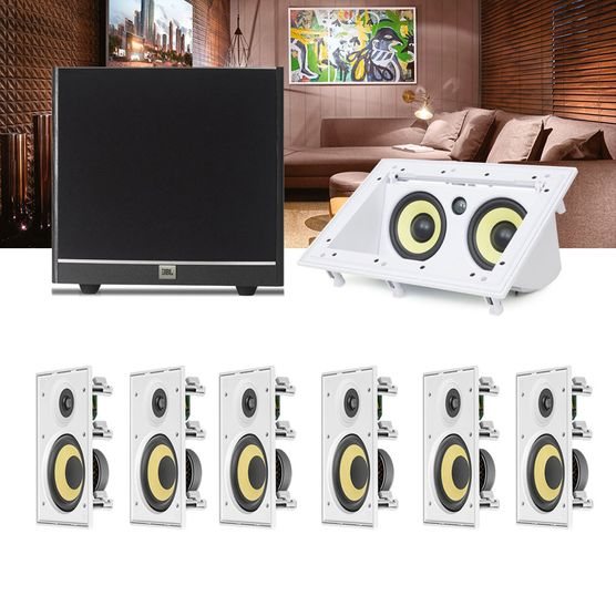 Kit Home Theater 7.1 JBL Caixa de Embutir CI6R + Canal Central CI55RA + Sub 100 Residencial Gesso