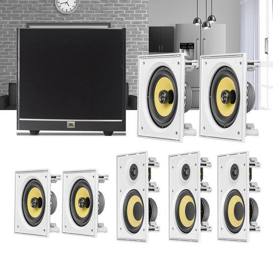Kit Home Theater 7.1 JBL Caixa de Embutir CI6R + CI6S + Sub 100 Residencial Gesso