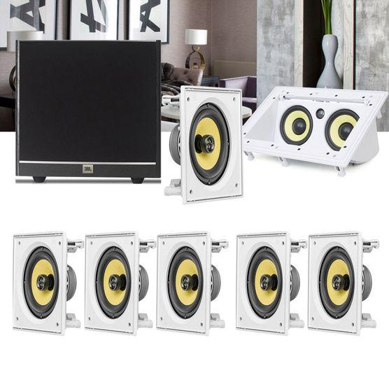 Kit Home Theater 7.1 JBL Caixa de Embutir CI6S + Canal Central CI55RA + Sub 100 Residencial Gesso