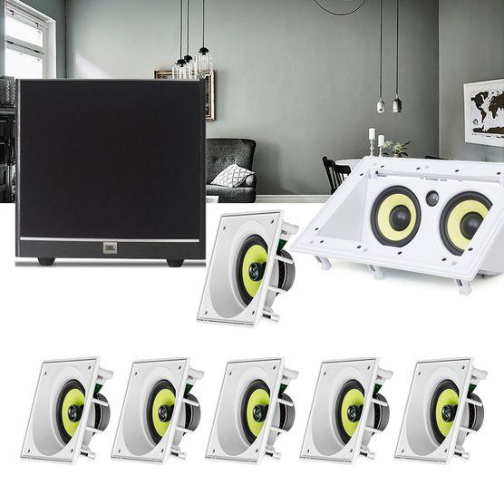 Kit Home Theater 7.1 JBL Caixa de Embutir CI6SA + Canal Central CI55RA + Sub 100 Residencial Gesso