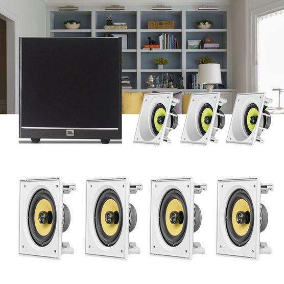 Kit Home Theater 7.1 JBL Caixa de Embutir Ci6SA + Ci6S + Sub 100 Residencial Gesso