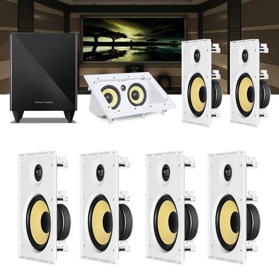 Kit Home Theater 7.1 JBL Caixa de Embutir CI8R + Canal Central CI55RA + Sub 210 Residencial Gesso